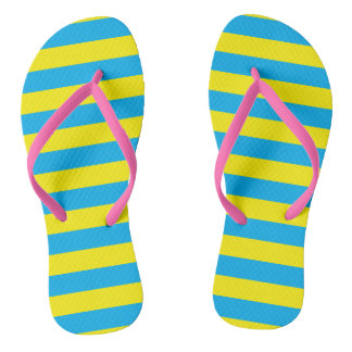 Blue and Yellow Horizontal Stripes Thongs