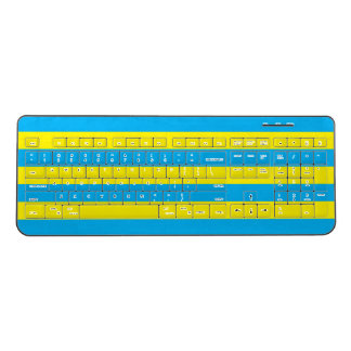 Blue and Yellow Horizontal Stripes Wireless Keyboard