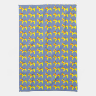 Blue and Yellow Horses Tea Towel