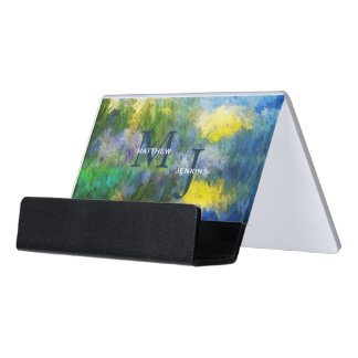 Blue and Yellow Impressionistic with Monogram Desk Business Card Holder