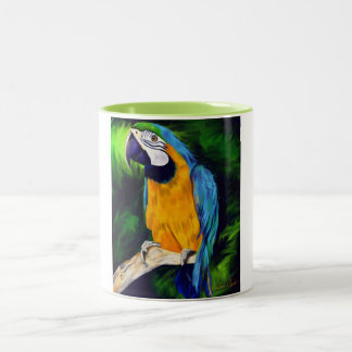 Blue and Yellow Macaw Parrot Two-Tone Coffee Mug