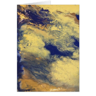 Blue and Yellow Marble Blank Greeting Card