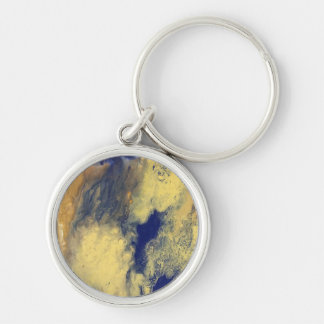 Blue and Yellow Marble Keychain