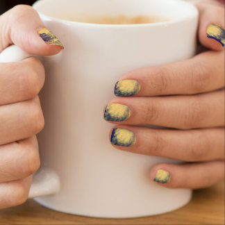Blue and Yellow Marble Nails Minx Nail Art