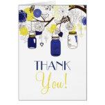Blue and Yellow Mason Jars Wedding Thank You Card