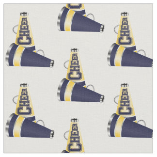 Blue and Yellow Megaphones Cheer Fabric