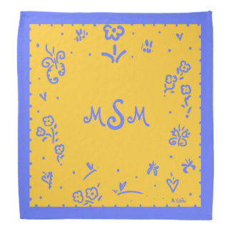 Blue and Yellow monogram bandana