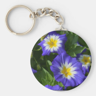 Blue and Yellow Morning Glories Basic Round Button Key Ring