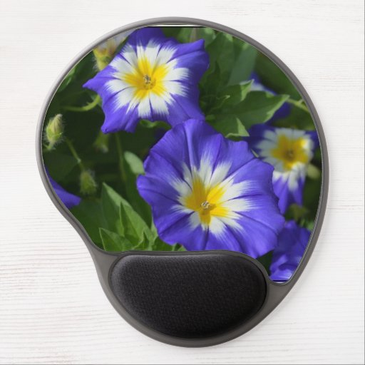 Blue and Yellow Morning Glories Gel Mouse Mat