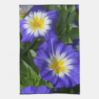 Blue and Yellow Morning Glories Tea Towel