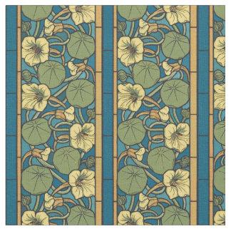 Blue and Yellow Nasturtium Pattern Fabric