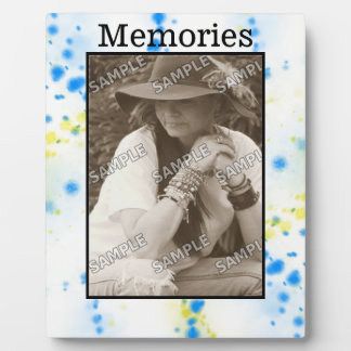 Blue and Yellow Paint splatter Your Photo/Text Photo Plaques
