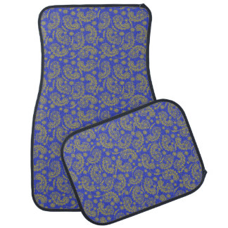 Blue and Yellow Paisley Car Mat Set