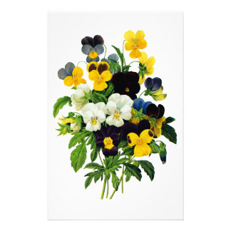 Blue and Yellow Pansies by Pierre Joseph Redoute Customised Stationery