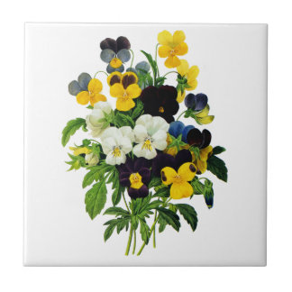 Blue and Yellow Pansies by Pierre Joseph Redoute Small Square Tile