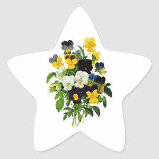 Blue and Yellow Pansies by Pierre Joseph Redoute Star Sticker