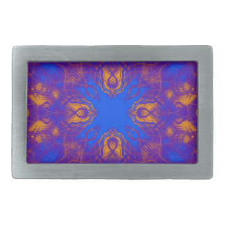 Blue and yellow pattern rectangular belt buckle