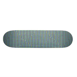 Blue and Yellow plaid Design Skate Boards