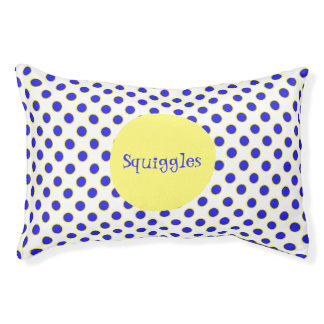 Blue and Yellow Polka Dots Custom Pet Bed