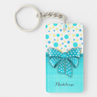 Blue and Yellow Polka Dots, Turquoise Blue Ribbon Double-Sided Rectangular Acrylic Key Ring