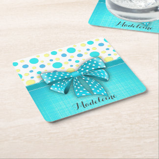 Blue and Yellow Polka Dots, Turquoise Blue Ribbon Square Paper Coaster