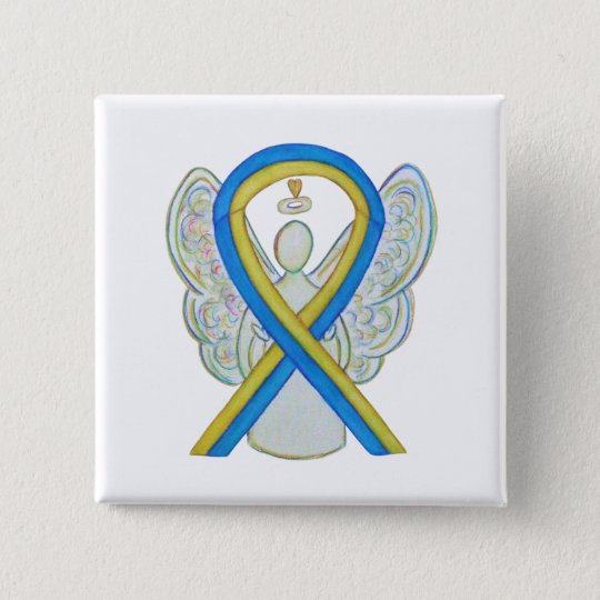 Blue and Yellow Ribbon Awareness Angel Custom Pin