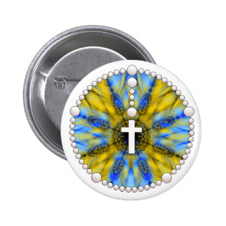 Blue and Yellow Rosary Dream Catcher 6 Cm Round Badge