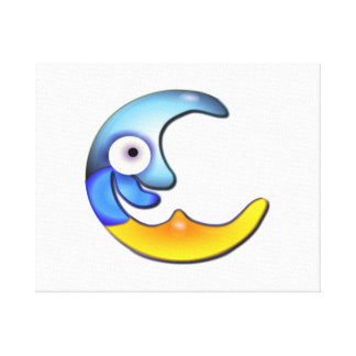 Blue and Yellow Smiling Moon Canvas Print