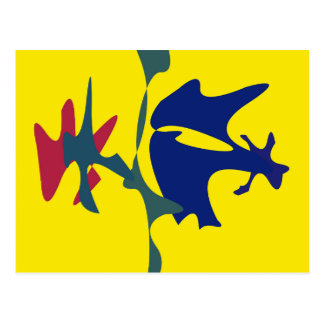 Blue and yellow spots postcard