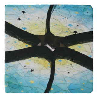 Blue and Yellow Stained Glass Star of David Trivet