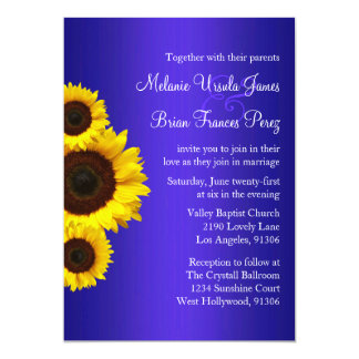 "Blue and Yellow Sunflower Wedding Invitation 5"" X 7"" Invitation Card"