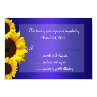 Blue and Yellow Sunflower Wedding RSVP 9 Cm X 13 Cm Invitation Card