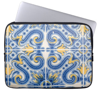 Blue and yellow tile, Portugal Computer Sleeves