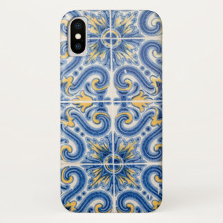 Blue and yellow tile, Portugal iPhone X Case