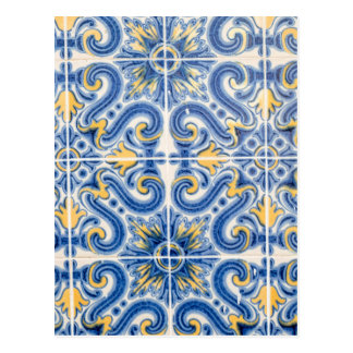 Blue and yellow tile, Portugal Postcard