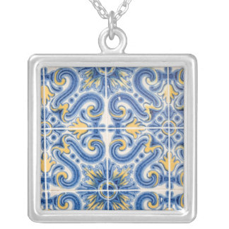 Blue and yellow tile, Portugal Silver Plated Necklace