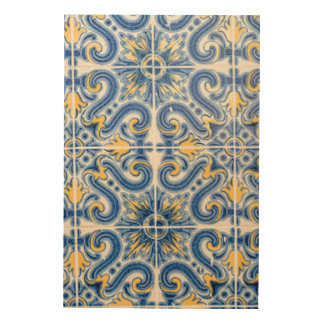 Blue and yellow tile, Portugal Wood Canvases