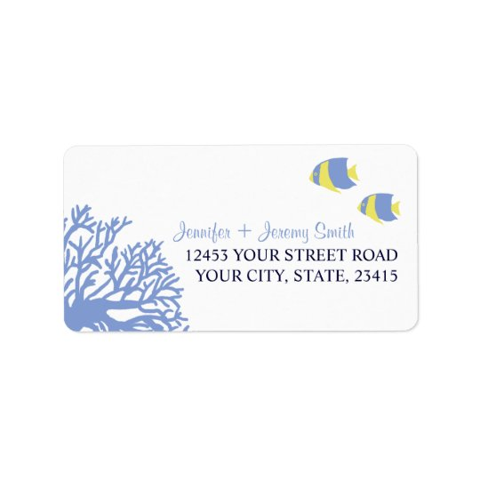 Blue and Yellow Tropcial Beach Address Label