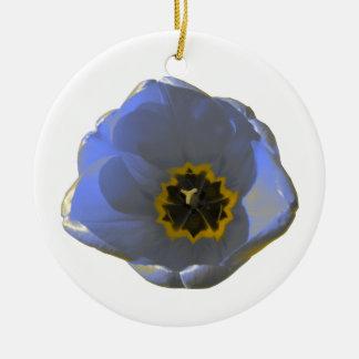 Blue and Yellow Tulip Custom Birthday Ceramic Ornament