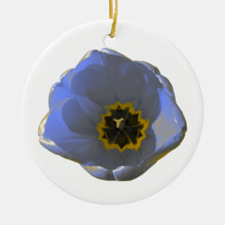 Blue and Yellow Tulip Custom Birthday Round Ceramic Decoration