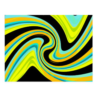 Blue and yellow twisted design postcard