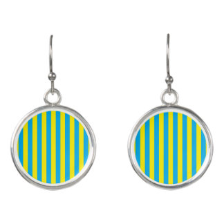 Blue and Yellow Vertical Stripes Earrings