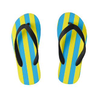 Blue and Yellow Vertical Stripes Kid's Thongs