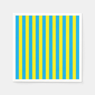 Blue and Yellow Vertical Stripes Paper Napkins