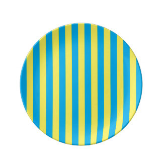 Blue and Yellow Vertical Stripes Plate