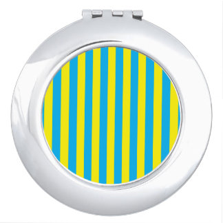 Blue and Yellow Vertical Stripes Travel Mirror