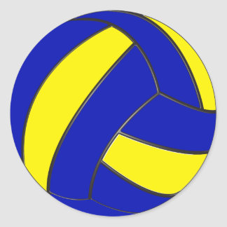 Blue and Yellow Volleyball Stickers