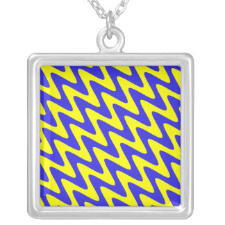 Blue and Yellow Wavy Zigzag Square Pendant Necklace