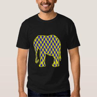 Blue and Yellow Zigzag Elephant T Shirts