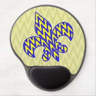 Blue and Yellow Zigzag Fleur de lis Gel Mouse Mat